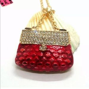 NWT•Betsey Red enamel & crystal purse lng necklace